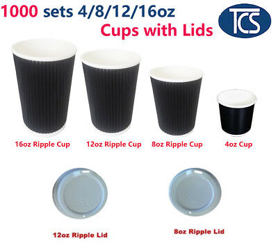 TCS 1000 set 4oz / 8oz / 12oz / 16oz Triple Ripple Wall Paper Coffee Cups + Lids