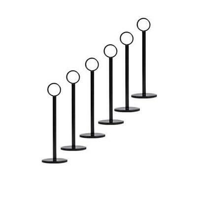 6x Number / Sign Holder, Ring Black 200mm, Cafe Table Stand, Event & Restaurant