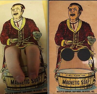 Antique Magnetic Soap Rickers & Co Soap Works Milwaukee Novelty Advertising Card