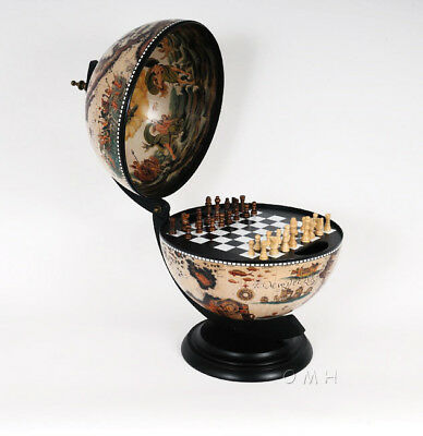 """Chess Board Set Old World Style Wooden Globe 13"""" Table Top"""