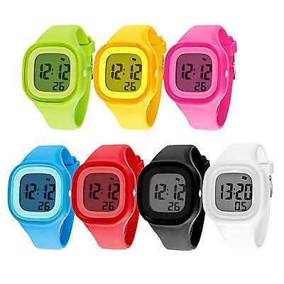 Lovely Waterproof Sports LED Night Light Digit Watch Kids Boy Girl Wrist Watch