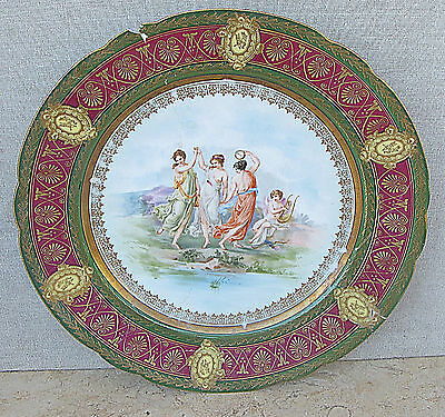 Antique Royal Vienna Porcelain Painted Plate 19th Cen. Marked. For Restoration