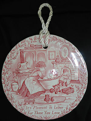 Royal Crownford Staffordshire Pink Plate; It's Pleasant to Labor For You Love
