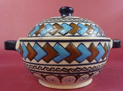 C.S. Small Ceramic Decorative Pot with Blue & Brown Abstract Design