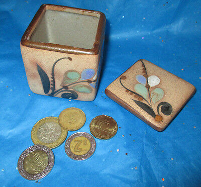 Vintage Mexican Art Pottery Trinket Box w/ Lid-5 Peso Money Coins-Hand Painted