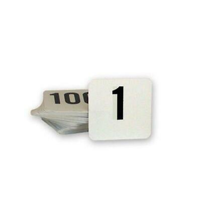 Table Numbers, Ranged 1-100, Black on White, Plastic, 105 x 95mm (Larger)