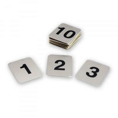 Table Numbers, Set of 21-30, Adhesive, Stainless Steel, 40 x 50mm