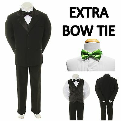 Baby Toddler Boy Black Formal Wedding Party Suit Tuxedo + Lime Bow Tie sz S-4T
