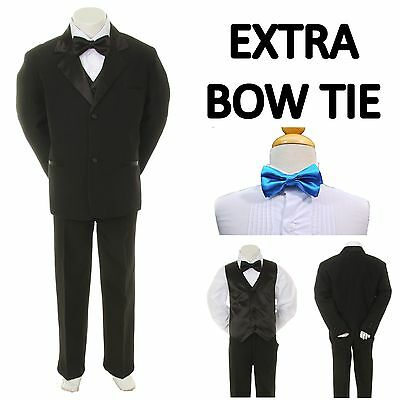 Baby Toddler Boy Black Formal Wedding Party Suit Tuxedo+Turquoise Tie sz S-4T