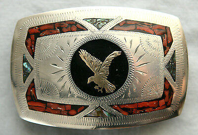 Vtg Johnson Held Eagle Coral Abalone Inlay Hand Crafted Western Belt Buckle