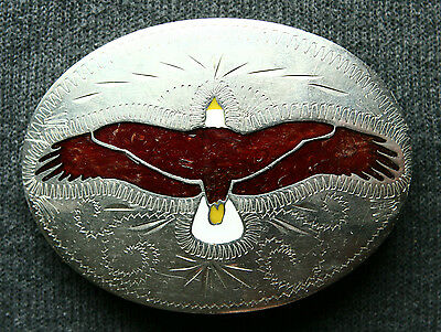 Vtg Johnson & Held Hand Crafted Flying Eagle Inlay Western Belt Buckle