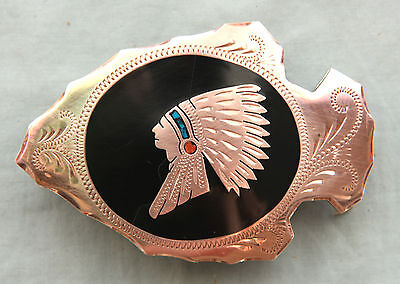 Vtg Johnson Held Turquoise Coral Indian Chief Inlay Handmade Western Belt Buckle