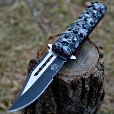 "9"" SKULL CAMO Spring Assisted Open SAWBACK BOWIE Tactical Rescue Pocket Knife"