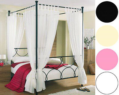 Voile Tab Top Press Stud 4 Poster Bed Curtain Set. Set Of 8 Panels & 4 Tie Backs