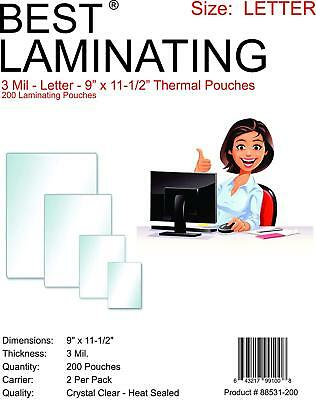 Best Brand  3 Mil Clear Letter Size Thermal Laminating Pouches 9 X 11.5 Qty 200