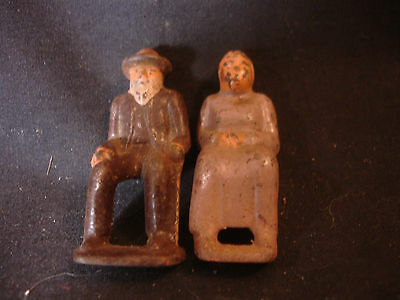 Old Vtg Collectible Cast Iron Figures Figurines Man Woman Lady Sitting Elderly