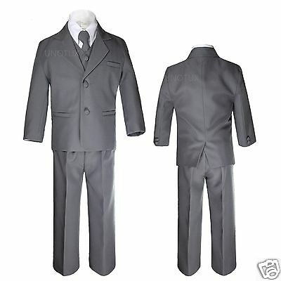 5pc Baby Toddler Boys Kids Dark Gray Grey Formal Wedding Party Tuxedo Suits S-7