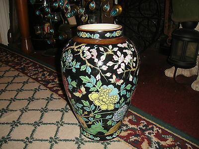 Stunning Chinese Or Japanese Flower & Butterfly Painted Vase-Brilliant Colors
