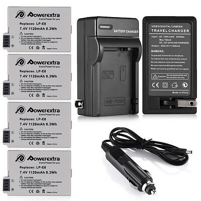 LP-E8 Battery + Wall Charger for Canon Rebel T2i T3i T4i T5i Kiss X5 EOS 550D