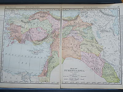 1896 LARGE McNally Antique MAP TURKEY in ASIA (Asia Minor)   DATED