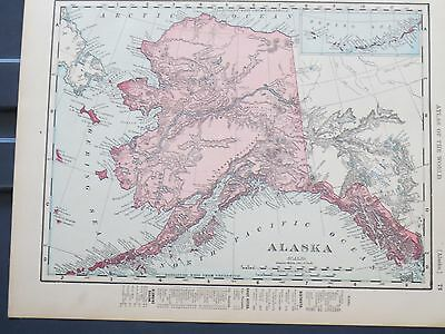 1896 McNally  Antique MAP ALASKA / CANADA British North America    DATED Mint