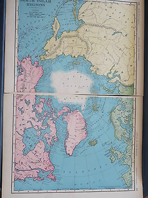 1896 LARGE McNally Antique MAP NORTH POLE REGION Arctic Explorers dates    DATED