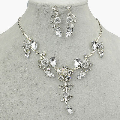 Flower Gem Crystal Earring Wedding Party Necklace Pendant Set A1619K