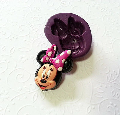 Silicone Mold Minnie Mouse w Bow (34mm) Gum Paste Fondant Chocolate Candy Mould