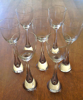 6 Kusak Crystal Apollo Water Martini Wine Glass Blown Cut Czech Seattle stemware