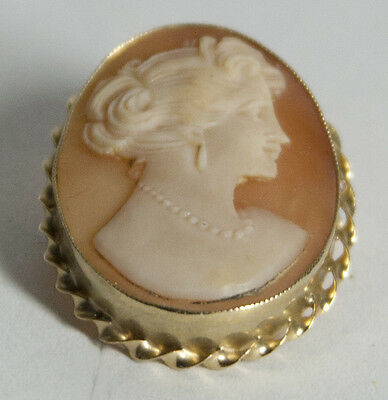 """10K Cameo Pin/Pendant Beautifully Carved 1"""" h x 3/4"""" w"""