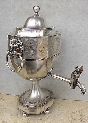 Antique Silver Plate Samovar or Coffee / Tea Urn w/ Lion Faces Unmarked 19th C.