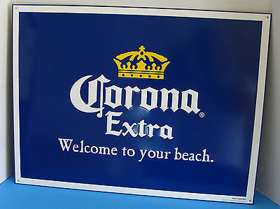 "Corona Extra Welcome To Your Beach 24"" X 18"" Embossed Metal Sign Tacker New"