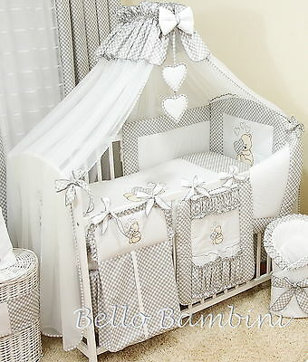 10p BabyBeddingSet /Bumper/Canopy /Holder/Quilt/CANOPY for Cot Bed or Cot GREY