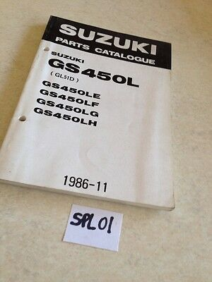 Suzuki parts list GS450L GS450 LE LF LG LH GL51D GS 450 L ed. 1986