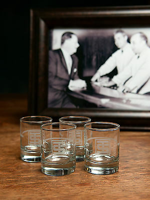 4 Rare Whiskey Shot Glasses from TOOTS SHOR legendary New York City Saloon