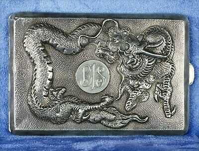 Antique Chinese Export Silver Cigarette Case Dragon Design Early 20th Century
