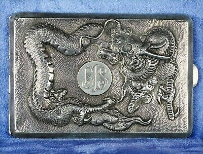 Fine Antique 1900s Chinese Export Golden Dragon Silver Cigarette Case Box