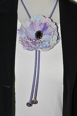 "4.5"" Lavender Rainbow Pastel ""Watercolor"" Peony Silk Flower BOLO Slide Tie"