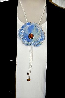 "Unique Handmade 4.5"" Blue Yellow & White Peony Silk Flower BOLO Slide Tie"