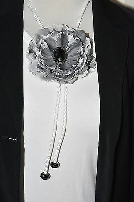"Unique Handmade 4.5"" Black Gray & White Peony Silk Flower BOLO Slide Tie"