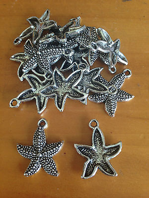 Antique Silver Starfish charms / pendants x 15