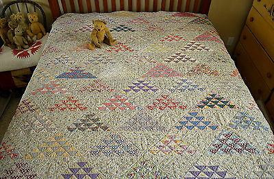 Intricate Hand Stitched Antique Flying Geese Quilt