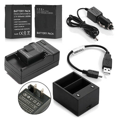 AHDBT-301/201 Battery +Dual / AC DC Charger for GoPro HD Hero3 3+ Black & Silver