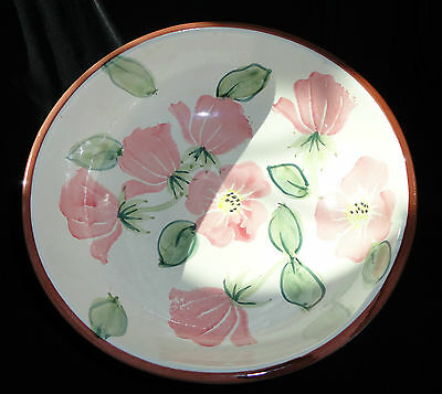 LARGE CERAMIC PINK FLORAL BOWL BY CERAMICHE TOSCANE OF ITALY