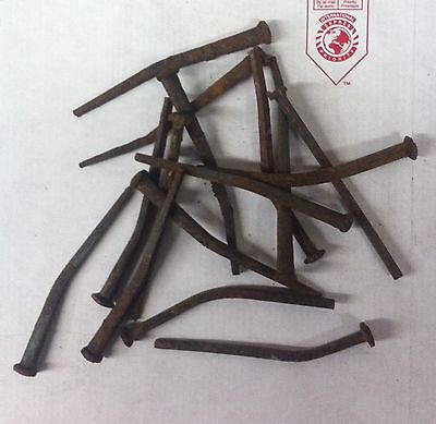 "1 lb (20 bent nails) 1800'S  SQUARE 4.5"" LONG NAILS (bent pieces)"