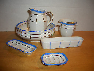 ANTIQUE CHILD'S-DOLLS 7 PC DRESSER-TOILET-CHAMBER SET DISHES-BLUE AND WHITE-SALE