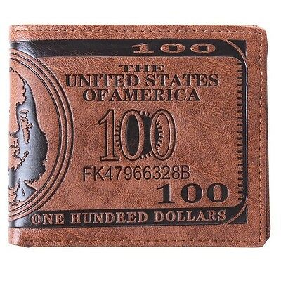 US Dollar Bill Style Brown Wallet PU Leather Bifold Credit Card Holder Bag - 6A