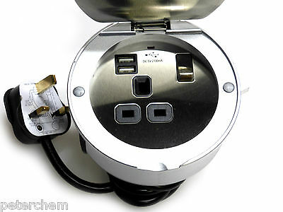 Recessed socket twin USB charger ports 13 amp kitchen office hotel counter floor