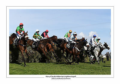 Many Clouds 2015 Grand National Leighton Aspell Horse Racing A4 Photo Aintree 2