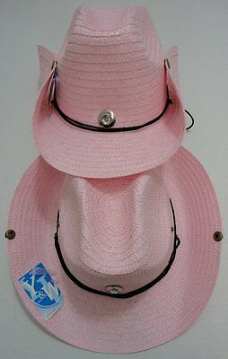 120pc PINK Straw Cowboy Hat Cowgirl Womens Western Hats w Chin Straps + Snaps